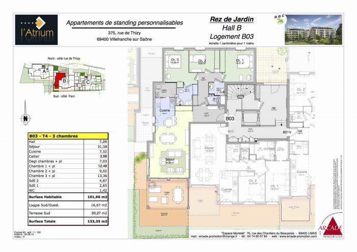 Appartement  Villefranche-sur-Saône Mairie 100 m² 4 pièces