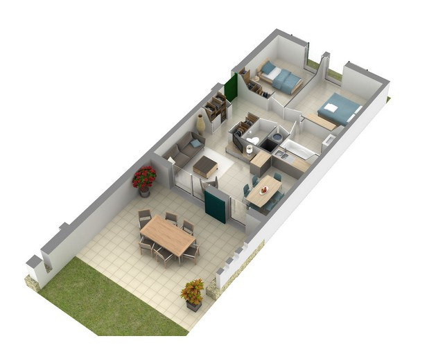 Villa f3 en r sidence avec piscine bonifacio corse - Plan de maison mitoyenne ...